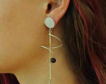 long lava art earring, single piece, handmade lava bead earring, orbit carnelian stone earring, contemporary Jewelry/Unique Statement Gift.