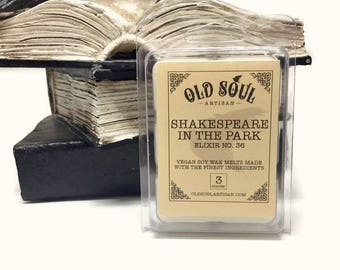 Shakespeare in the Park Scented Soy Wax Melts, Soy Tarts, Candle Melts, Air Freshener Aroma Melts, Summer Scent