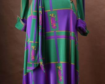 Diane Von Furstenberg Geometric Printed Wrap Dress c. 1972