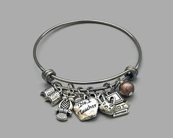 Teacher Charm Bracelet, Teacher Bracelet, Owl Charm Bracelet, Book Charm, Computer Charm, Apple Charm, Art Charm, Stainless Steel Bangle