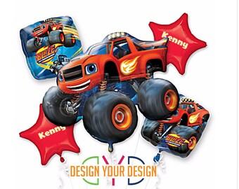 Personalized Blaze Monster Truck Theme Mylar Balloons!!