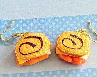 Reuben Sandwich on Marble Rye Bread Earrings, Miniature Food Jewelry, Sandwich Jewelry, Fake Food Jewelry, Inedible Jewelry, Gift for Foodie