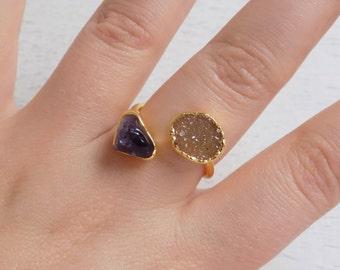 Amethyst Ring, Druzy Ring, Raw Amethyst Ring, Purple Gemstone Ring, Crystal Ring, Two Stones Ring, Minimalist Ring, Gift For Women, R3-33