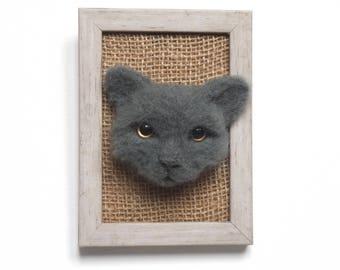 Personalised Pet Portraits Framed cat wall art Needle Felt 3D Wall Art cat wall decor Cat mural Needle Felt Animal Art Felted Pets