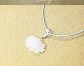 Gemstone White Jade pendant necklace, Carved Full Bloom Lotus pendant necklace, Carved White Jade Lotus pendant necklace, InfinityCraftArts
