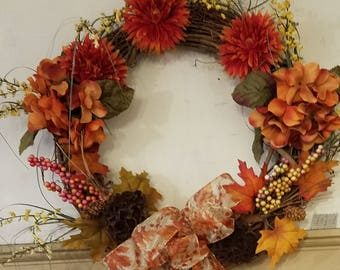 Fall Wreath with Dried Pomegranites