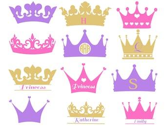 Crown Svg, Crown Monogram Svg, Princess Crown Svg, Crowns Svg, Crown clipart, Crown Cut file, silhouette Vector, crown vector SVG DXF Eps.