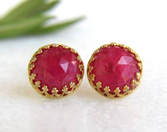 SALE 25% OFF - genuine ruby 8mm faceted round stud earrings with 14k gold vermeil bezel and post - ruby studs - July birthstone  - 8mm