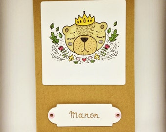 Princess bear christening or birth announcement