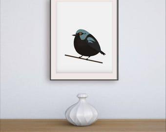 Bird poster decor, 2nd anniversary, Bird artwork print, Cute gift poster, Trending now art, 3rd anniversary gift, Cute teen girl gift