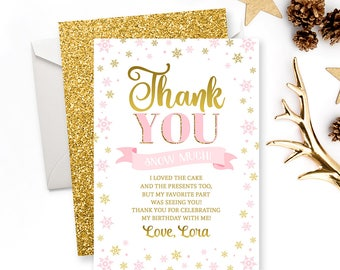 Winter Birthday Thank You Card Girl First Birthday Thank You Note Pink And Gold Winter Onederland Birthday Baby Girl 1st Birthday DIGITAL