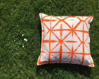 Shibori * Pillow * Orange * White * Cotton