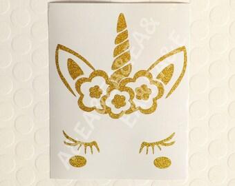 Beautiful Unicorn Decal/ Unicorn Decor / Gold Glitter Decal Sticker