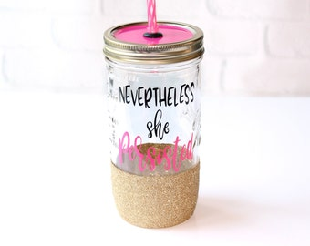 Nevertheless She Persisted // Nevertheless She // She Persisted // Feminist Cup // Gift for Her // Girl Power // Feminist Glitter Cup
