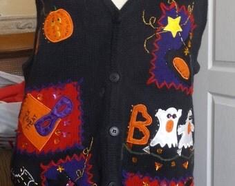 Vintage Halloween Sweater Vest Large