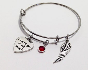 Memorial Jewelry, Memorial Bracelet, In Memory Of, Loss of Husband, I carry you in my heart, Lost Loved Ones, Memorial Gift, Loss of Parent
