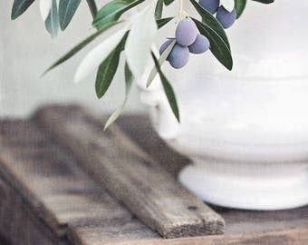 Rustic Farmhouse Wall Art, Kitchen Wall Decor, Olive Print, Olive Branch Photo, Farmhouse Wall Decor, Rustic Wall Art for Dining Room