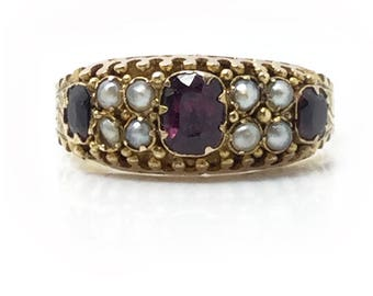 Victorian 15ct, 15k, 625 Garnet and Pearl ring by maker P & S, Chester, Circa 1860
