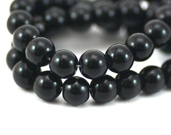 Black Smooth Round Glass Spacer Filler Beads 8mm