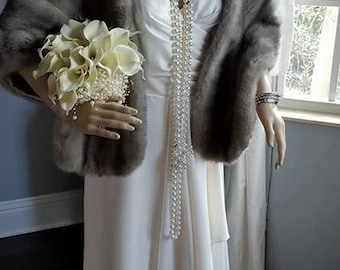 Luxury Vintage EMBA SAPPHIRE  Mink Fur Stole - Silver Grey  Blue Mink Fur Shawl -Cape - Wrap -  Shrug - Capelet Coat - Bride - Wedding
