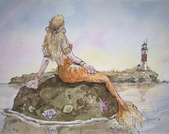 Mermaid,Sunning on a rock,9x12 original watercolor painting,one of a kind,not a print