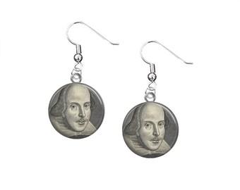 Shakespeare Dangle Earrings, William Shakespeare, Literary Jewelry, Bookish Gifts, English Teacher Gift, Shakespeare Jewelry, Literary Gifts