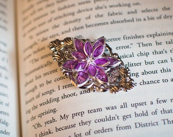 Silver Filigree Purple Flower Crystal Hair Clip