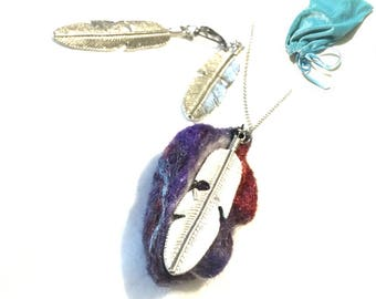 Purple Felted Feather Pendant and Silver Earrings Set, Designer Pendant, On Trend Hand Felted Gift,  Stylish Gift, On Trend gift,