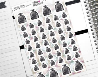 "DECORATIVE - ""Black Trash Bags"" Individual Decorative Stickers - Decorative Planner Stickers"