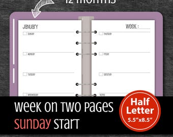 Undated 12 Months Sunday Start Week on two pages, A5 Weekly planner insert #half015