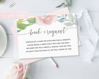 Book Request, Baby Shower Bring a Book, Baby Library, Printable Baby Shower Invitation Insert Card, Instant Download, Pastel floral card