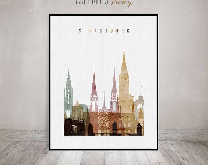 Strasbourg print, Strasbourg poster, Strasbourg  skyline, watercolor wall art, Travel gift, France, wall decor, travel decor, ArtPrintsVicky