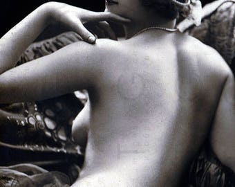 French FLAPPER FAB NUDE Erotic Photography. 20's Risque Printable Photo. Flapper Nude Photo Vintage Sexy Art Deco Digital Download.