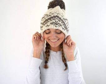 Knit Hat Winter Knitted Fair Isle Double Brim Tuque - Brown White Beige Slouchy Beanie Hat