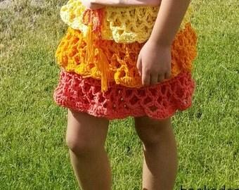 Girl's Skirt Crochet PATTERN - Ruffled Skirt - Crochet Pattern - Girl's Clothing - Summer Crochet Pattern