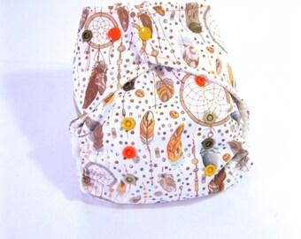 Dream Catcher Cloth Diaper, pocket cloth diaper, one size cloth diaper, Tan Dream Catcher Diaper