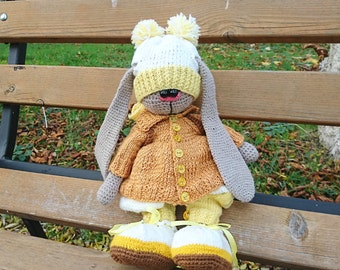Upcycled yarn soft toy Motessori knitted rabbit Recycled toy Crochet doll rabbit with clothes Child friendly eco gift for girl stuffed toy