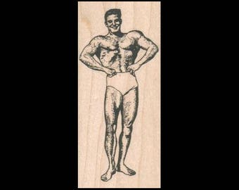 WEIGHT LIFTING Body Builder Rubber Stamp – Body Building, Body Builder Stamp, Weight Lifter, Fitness, Charles Atlas, Strongman, Gym Weights