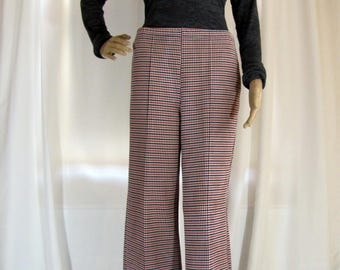 1970's High Waisted Red and Blue Polyester Plaid Pants, Small, Plaid, High Waisted, Wide Leg, Polyester, Red, Blue, 1970's, 70's