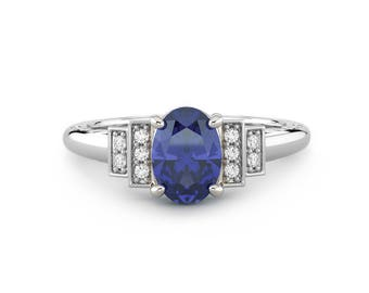 Genuine Blue Sapphire Diamond Ring 14k White