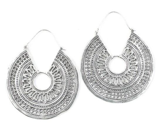 Large Silver Mandala Earrings, Tribal Earrings,  Festival Earrings, Gypsy Earrings, Ethnic Earrings, Mehndi Earrings