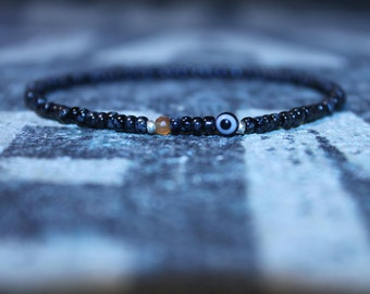 Evil Eye Bracelet, Men's Evil Eye Bracelet, Carnelian Bracelet, Mens gift for him Husband Gift , Mens Seed Bead