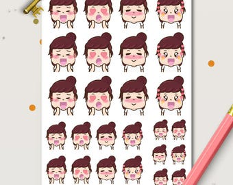 Happy Peggy Planner Stickers  Cute stickers | Girl Stickers | Kawaii stickers | Sleep Tracker |
