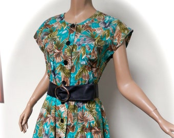 vintage 80s dress safari 40s style 1980s dress 12 uk  m shirtwaister