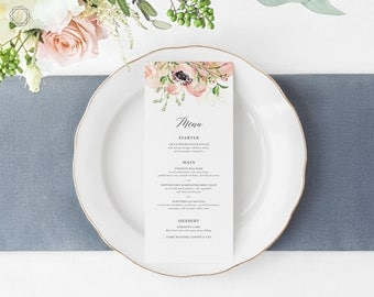 Wedding Menu, Menu Template, Menu, Printable Menu, Menu Card, Menu Printable, Vintage Floral Menu, Menu Card, Wedding printables, #PRG