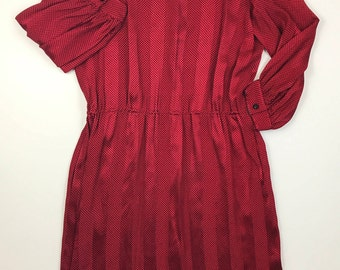 Women Vintage ALBERT NIPON Silk Gown Dress Red and Black Bow Neck Perfect