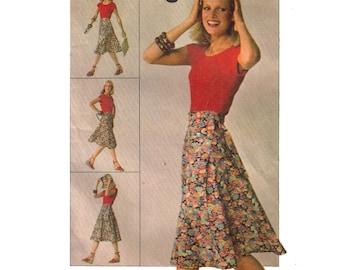 Simplicity 7876, 70s Sewing Pattern, Size 10 12 Women's Front Wrap Skirt, Tie Skirt Pattern Knee Length Midi Skirt A Line Skirt