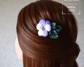 Purple Flower Hair clip Pansy Blueberry Baby Gift Hair clip for girl Christmas gift for girl Flower girl headpiece Wedding hair clip Flower
