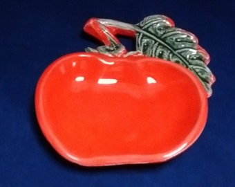 Vintage Large Tomato Spoon Rest - USA Ceramic Pottery VF 66 Red