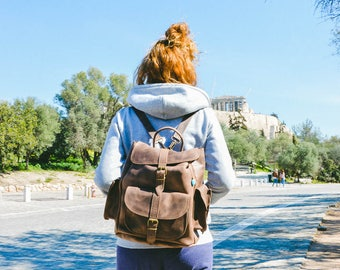 Rucksack Backpack, College Backpack, Travel Bag, Gift for Her, Made in Greece from Full Grain Leather, LARGE.